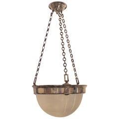 Vintage Holophane Glass Silvered Bronze Nickel Chrome Chandelier Fixture Pendent