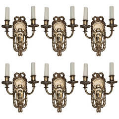 Elegant Set Six E.F. Caldwell Silvered Bronze Two-Arm Neoclassical Bow Sconces