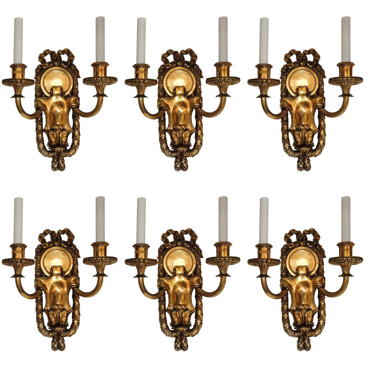 Elegant Set Six E.F. Caldwell Gilt Bronze Two-Arm Neoclassical Bow-Top Sconces