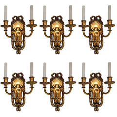 Elegant Set Six E.F. Caldwell Gilt Bronze Two-Arm Neoclassical Bow-Top Sconce