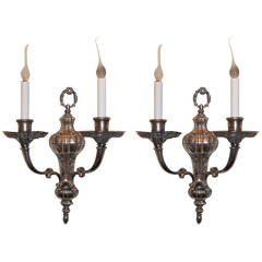 Pair of Silvered Bronze Georgian Style Two-Light Sconces E. F. Caldwell