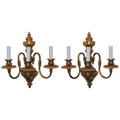 Wonderful Pair of Gilt Bronze Georgian Style Three-Light Sconces E. F. Caldwell