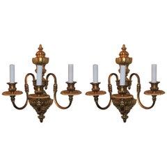 Wonderful Pair of Gilt Bronze Georgian Style Three-Light Sconces E. F. Caldwell