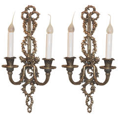French Neoclassical Bow Top Roses and Basket Weave Dore Bronze Sconces