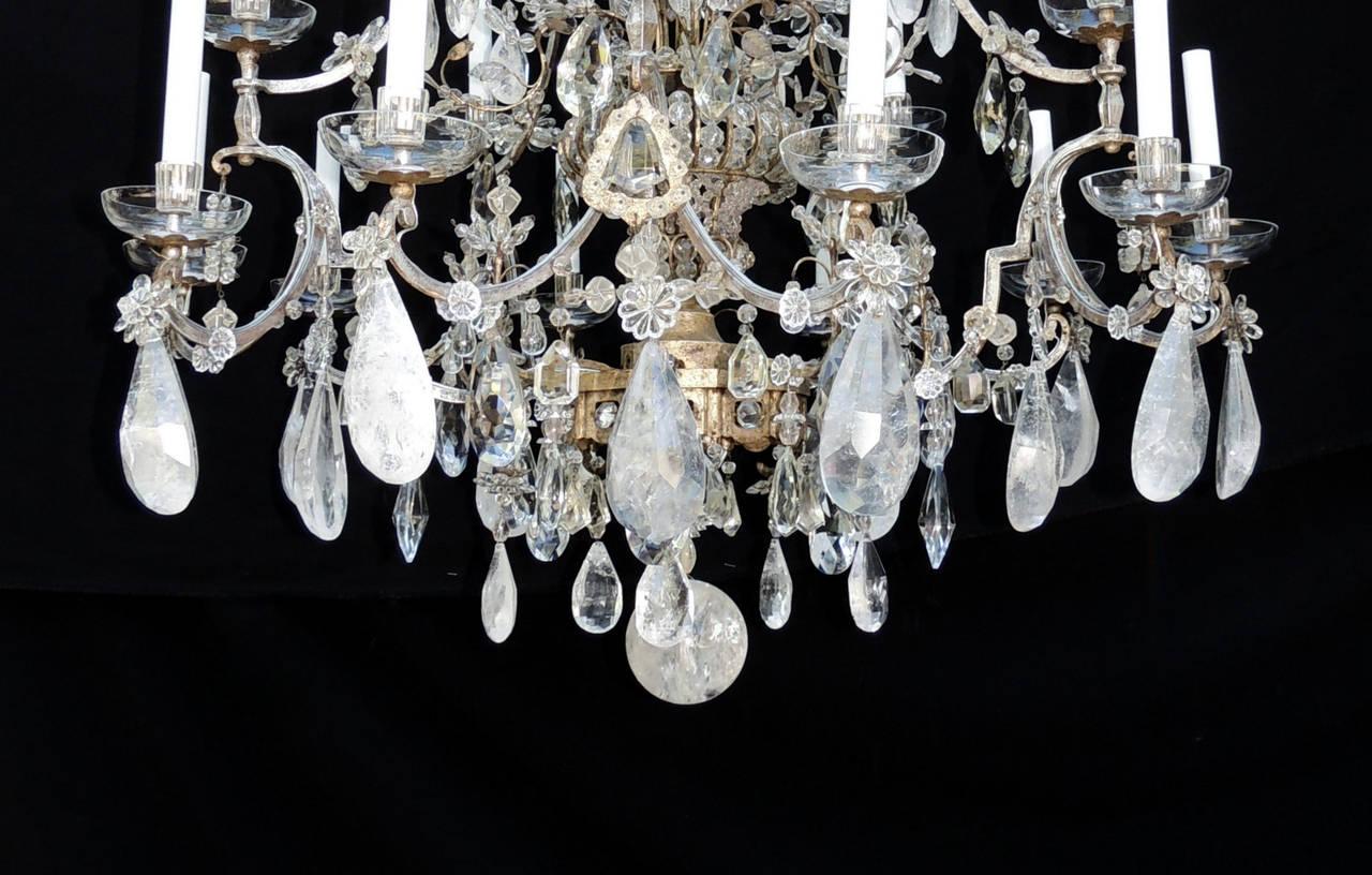 Metal Incredible Maison Baguès Silver Rock Crystal Floral Centre Chandelier Fixture For Sale