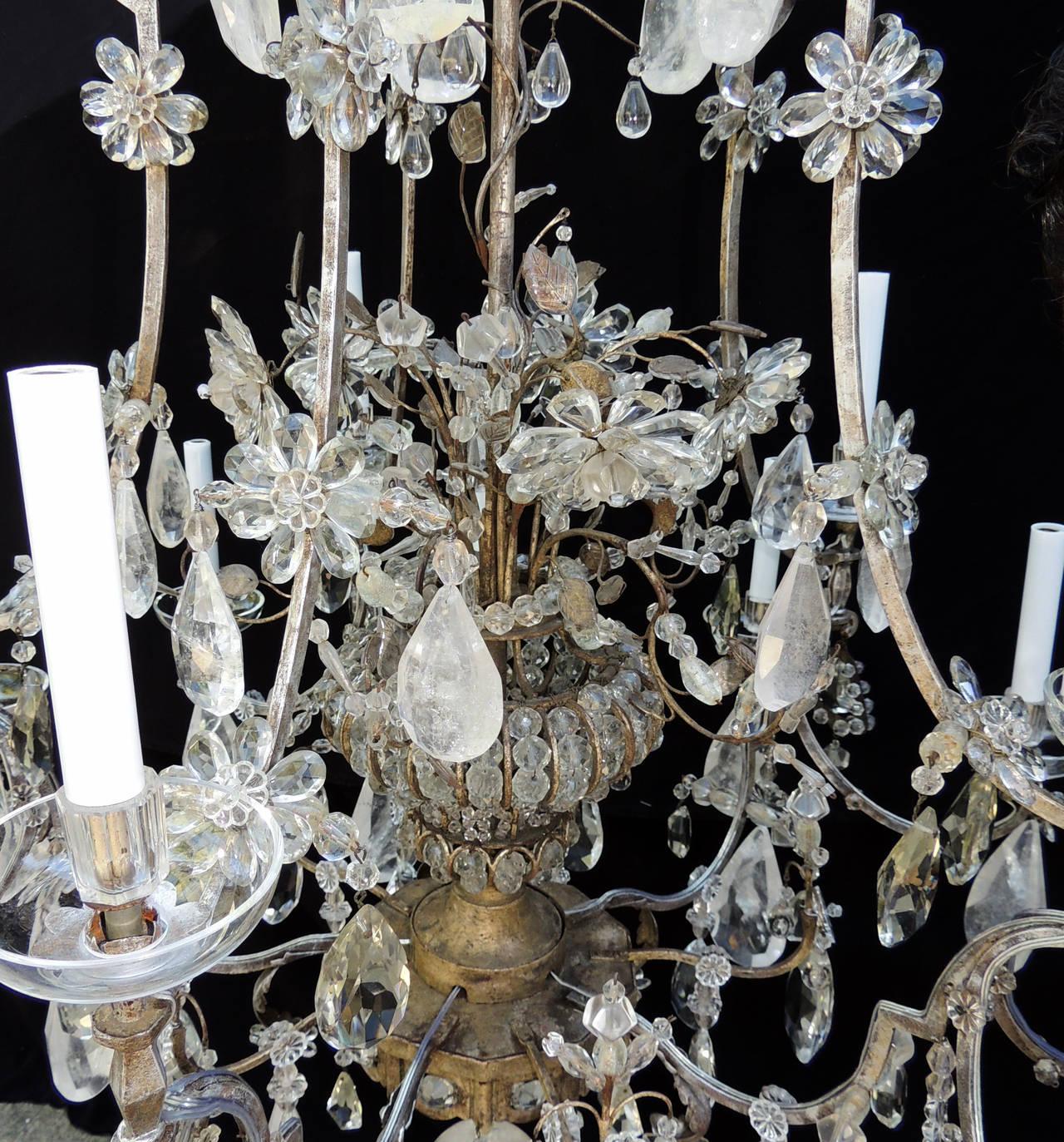 Gilt Incredible Maison Baguès Silver Rock Crystal Floral Centre Chandelier Fixture For Sale