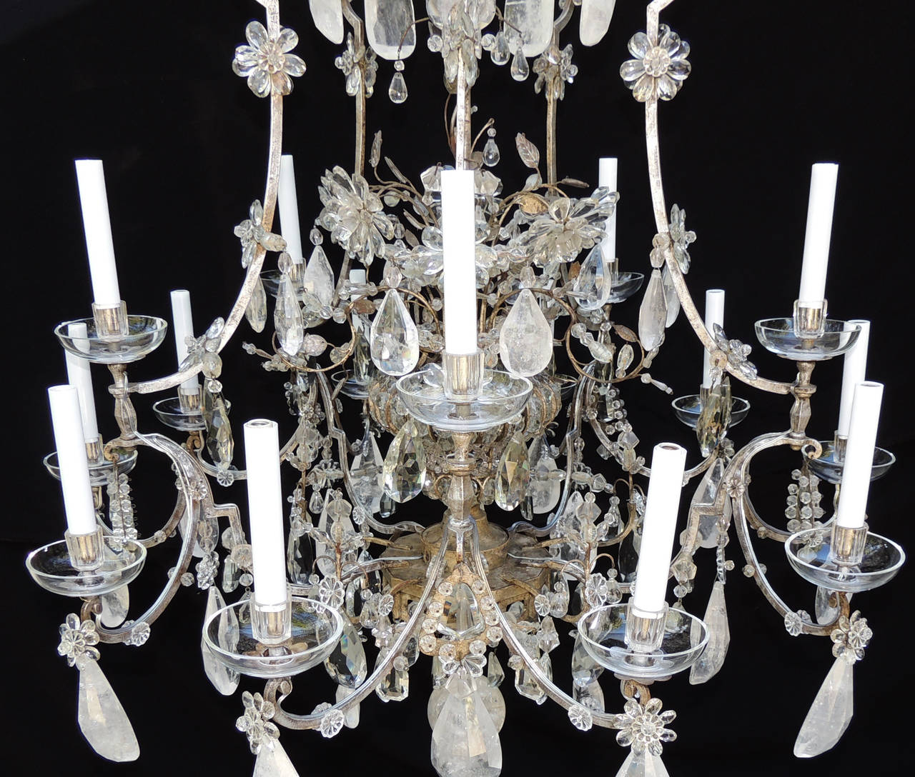 Early 20th Century Incredible Maison Baguès Silver Rock Crystal Floral Centre Chandelier Fixture For Sale