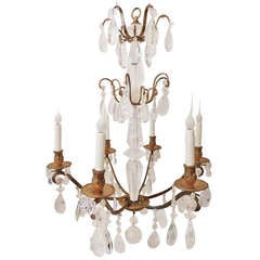 Unusual Modern French Doré Bronze and Rock Crystal Six-Arm Bagues Chandelier