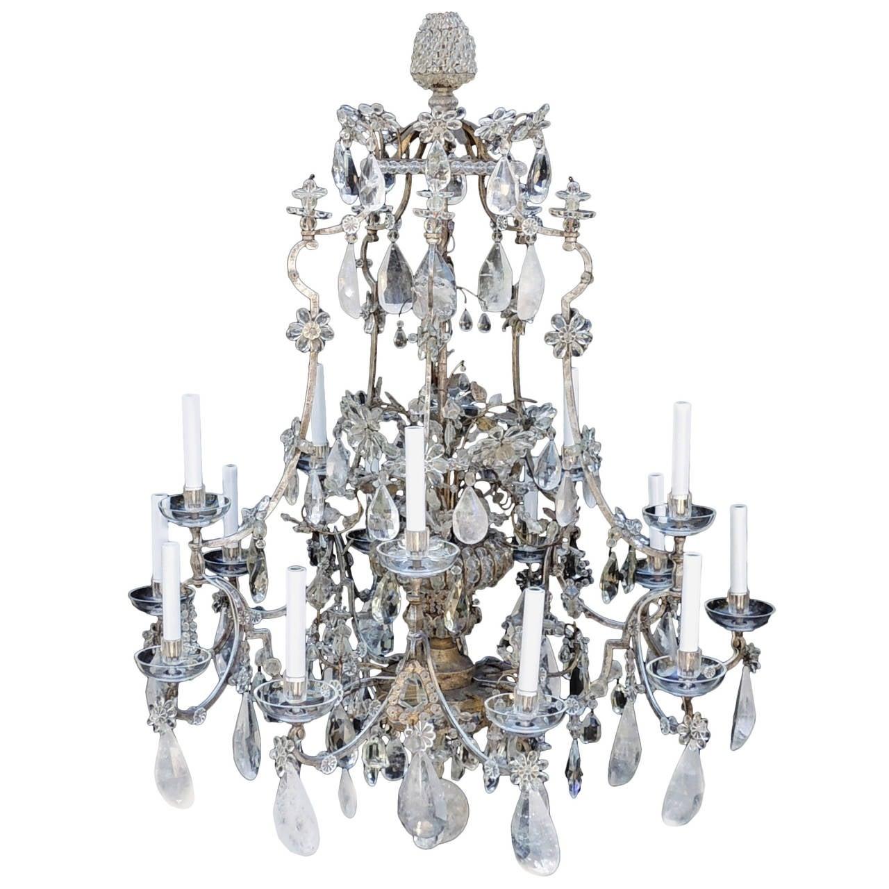 Incredible Maison Baguès Silver Rock Crystal Floral Centre Chandelier Fixture For Sale