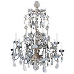 Incredible Maison Baguès Silver Rock Crystal Floral Centre Chandelier Fixture