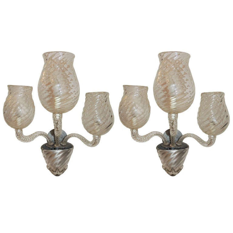 Mid Century Pair Vintage Murano Art Glass Modern Transitional Large Wall Sconces For Sale