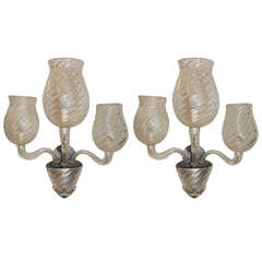 Mid Century Pair Vintage Murano Art Glass Modern Transitional Large Wall Sconces