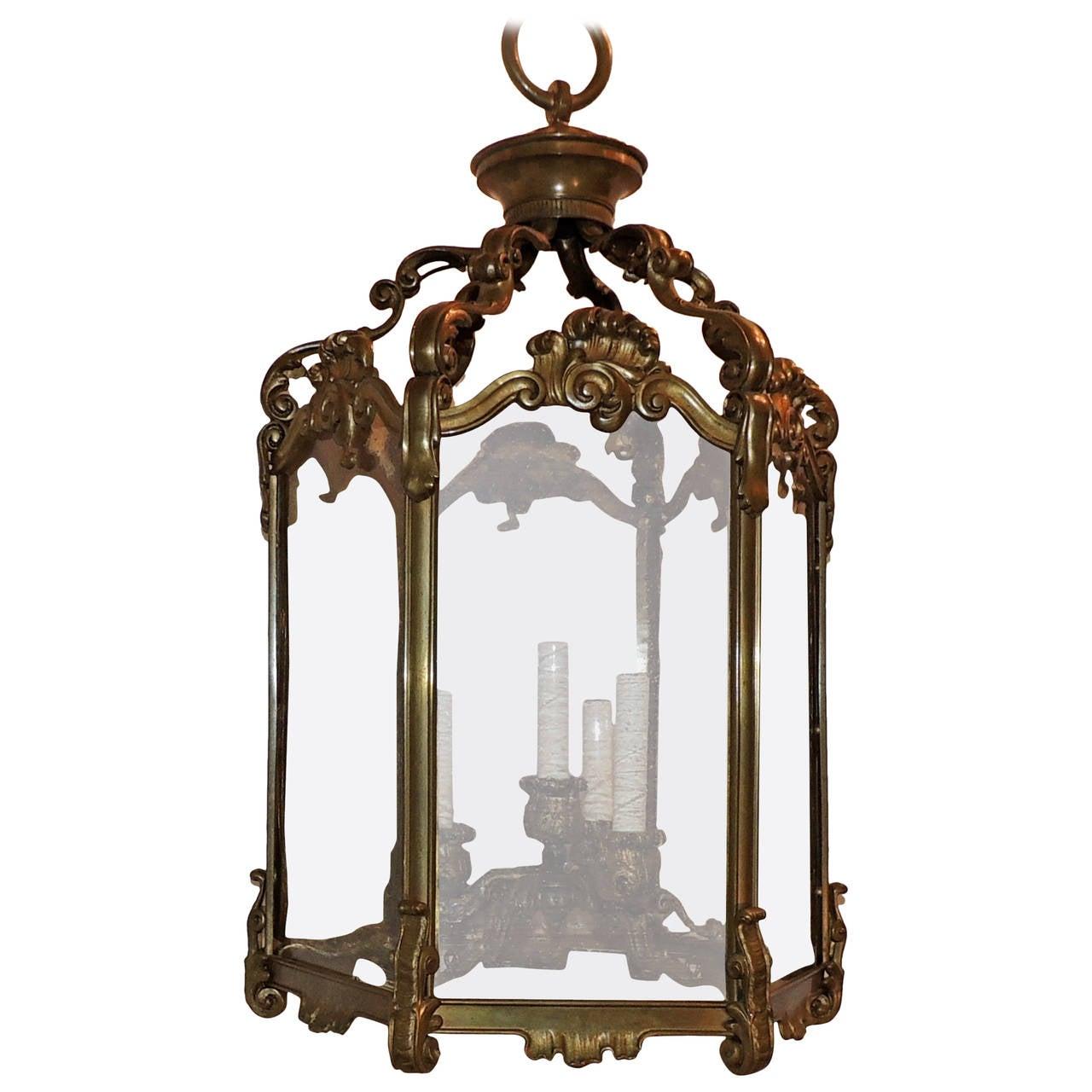 Wonderful Caldwell Bronze Hexagon Four-Light Lantern Chandelier Original Glass