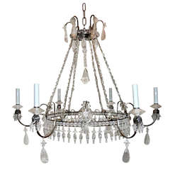 Wonderful French Silvered Bronze Graduated Crystal Tier