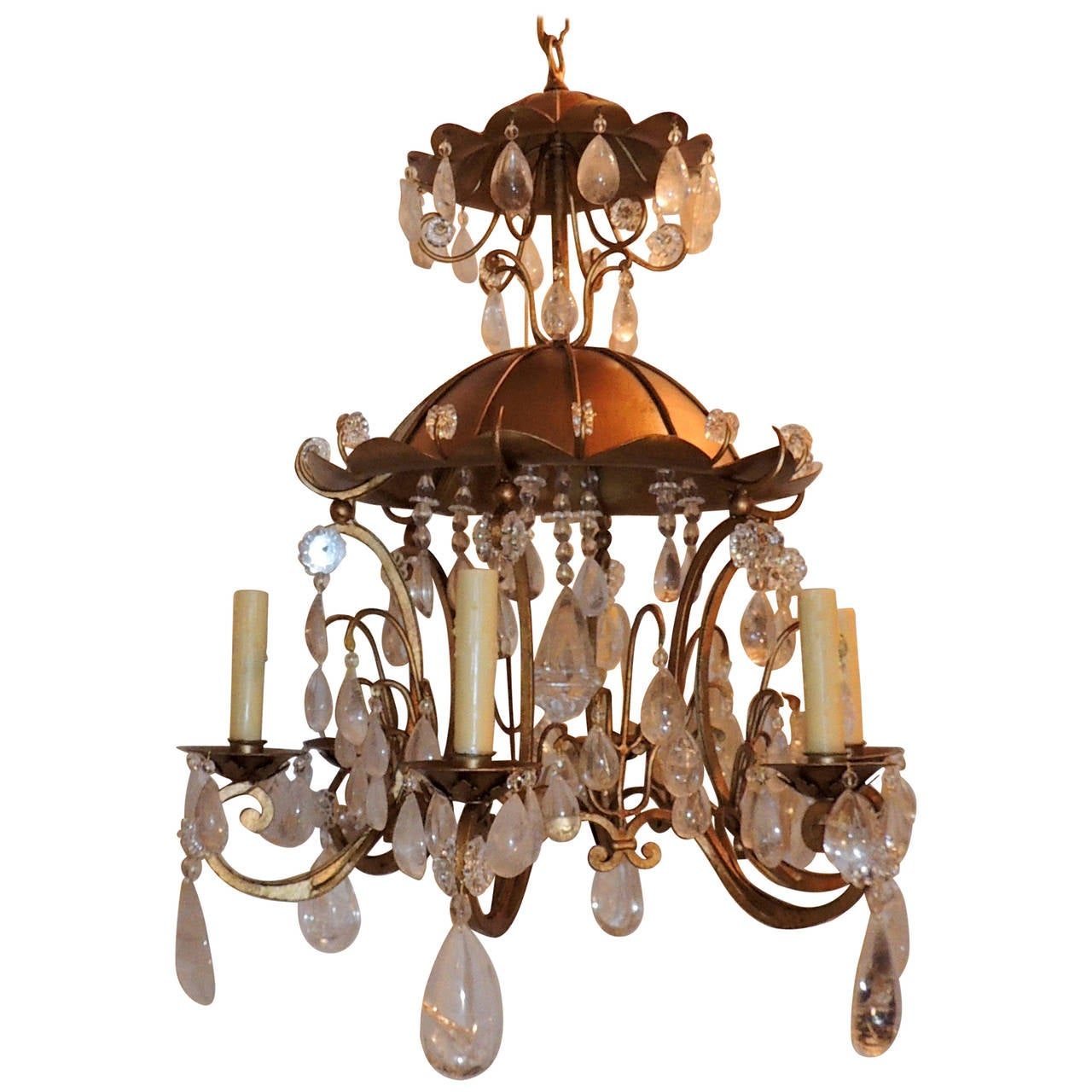 Wonderful Bagus Gold Gilt Pagoda Rock Crystal Vintage Chandelier