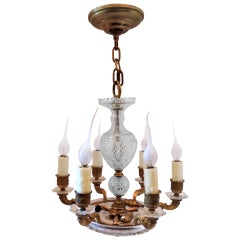 Fabulous Petite French Doré Bronze and Cut Crystal Six-Light Chandelier