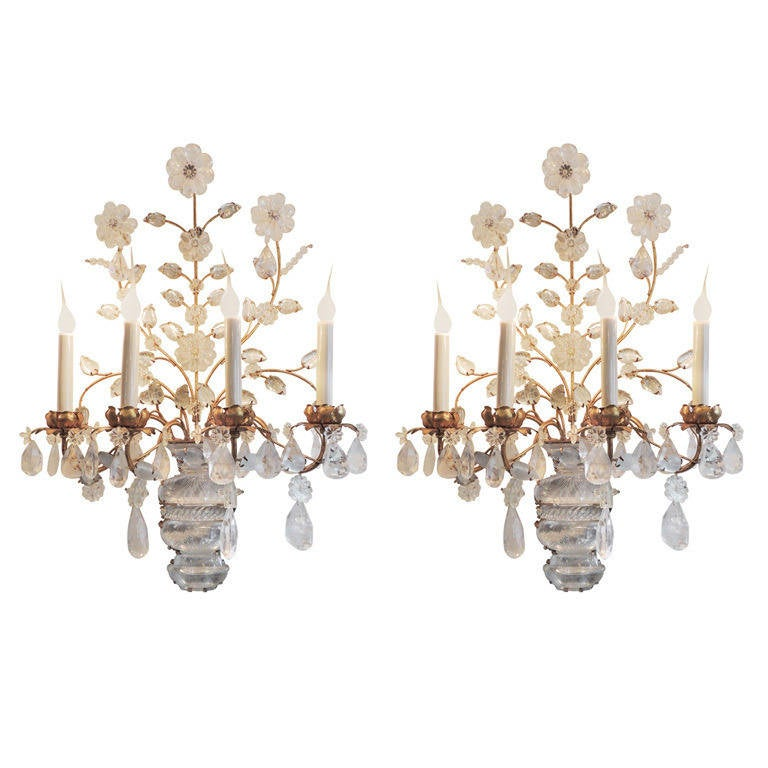 Elegant Crystal Wall Sconces : Elegant Pair of Gilt and Rock Crystal Four-Arm Bagues Style Wall Sconces at 1stdibs