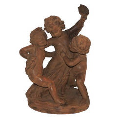 Wonderful Terracotta Statue Group of Three Children at Play Signed F. Cian