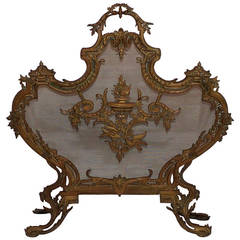 French Antique Doré Neoclassical Ormolu Bronze Fireplace Screen Fire Screen