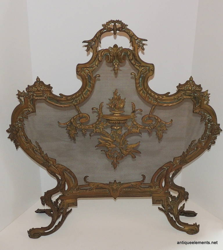 French Antique Dore Neoclassical Ormolu Bronze FirePlace