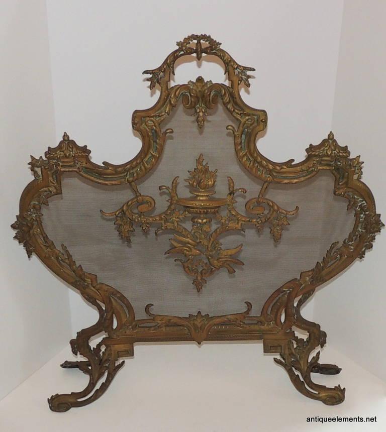 French Antique Doré Neoclassical Ormolu Bronze Fireplace ...