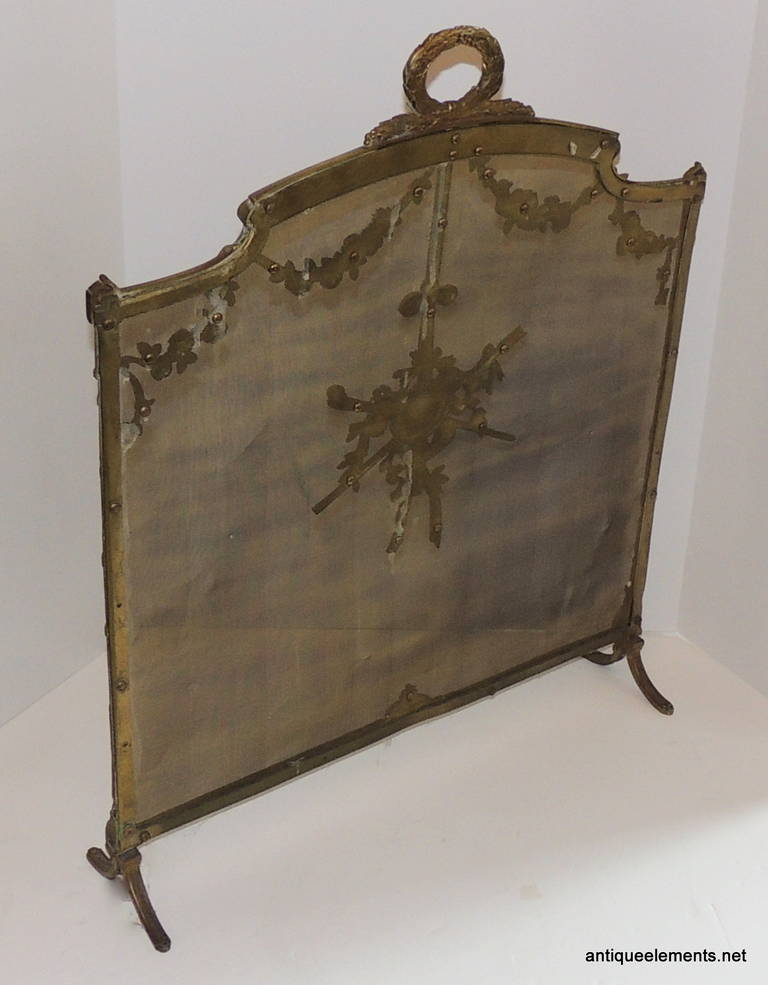 elegant french bronze fire place screen with swags center medallion firescreen at 1stdibs. Black Bedroom Furniture Sets. Home Design Ideas