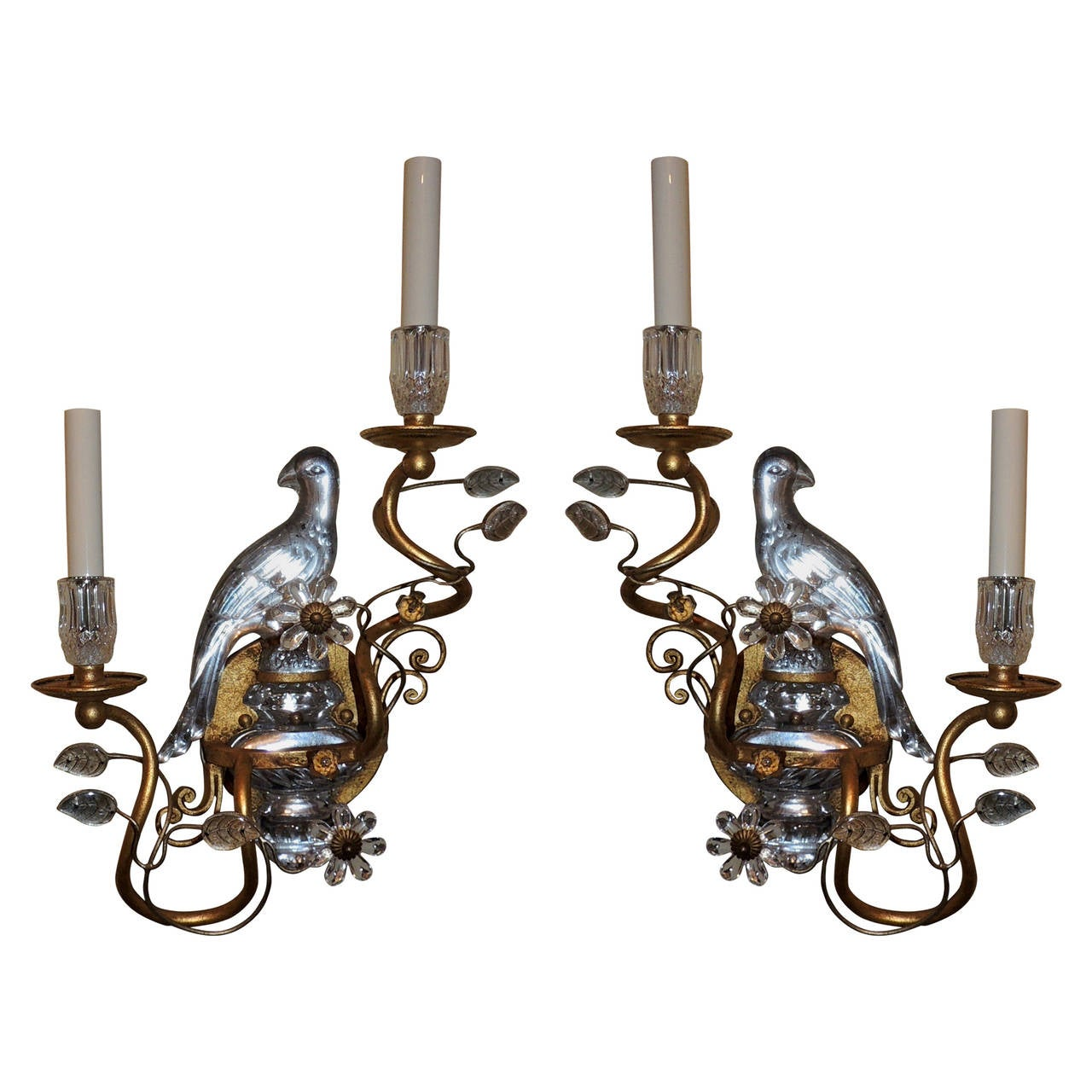 Crystal Bird Wall Sconces : Pair of Gilded Maison Bagues Glass Rock Crystal Style Parrot Bird Sconces at 1stdibs