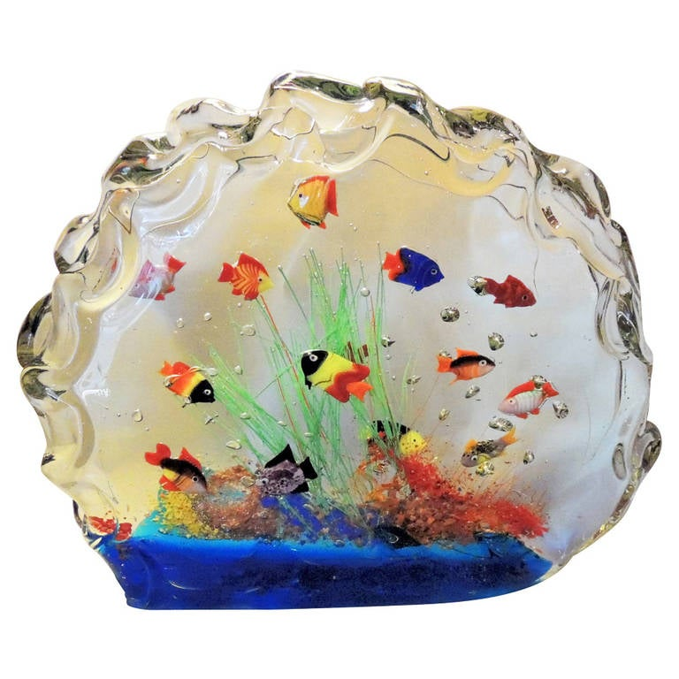 a rare and large murano glass aquarium glass fish sculpture centerpiece at 1stdibs. Black Bedroom Furniture Sets. Home Design Ideas