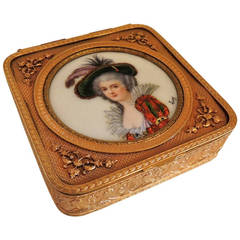 An Unusual Signed Dore Bronze French Enamel Box with Velvet Lining