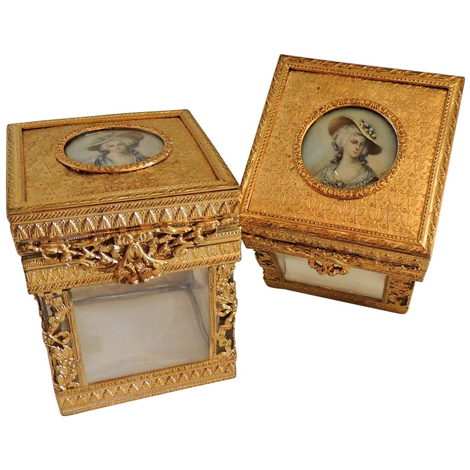 Elegant Pair of French Bronze Crystal Ormolu Vanity Boxes, Minature Portraits