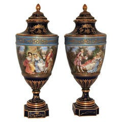 Very Fine Quality Pair of Blue Sevres Hand-Painted Urns with Covers
