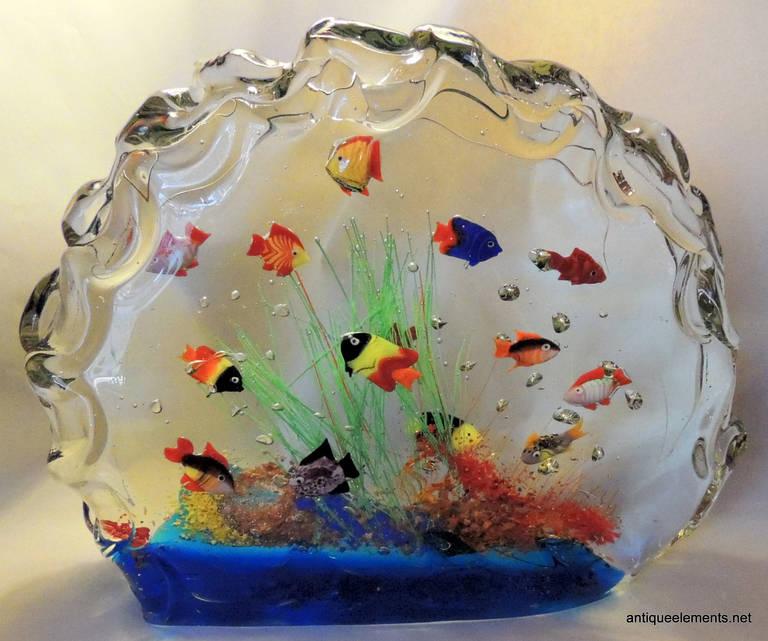 A Rare And Large Murano Glass Aquarium Glass Fish Sculpture Huge Centerpiece  -> Aquarium Table Baroque