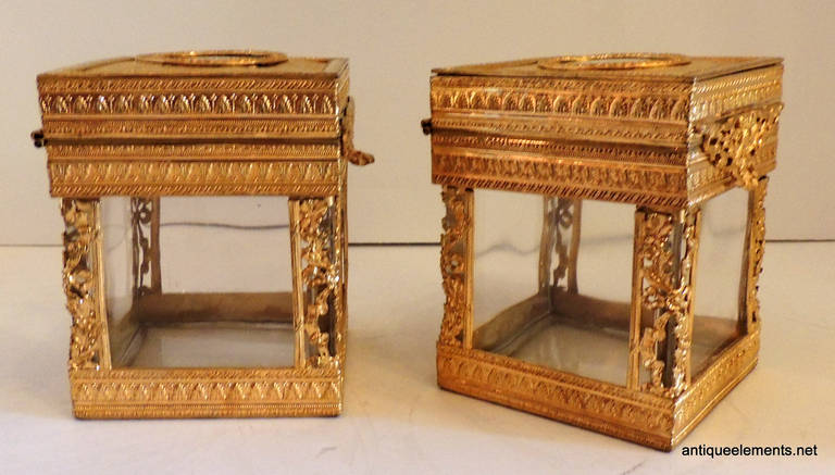 Elegant Pair of French Bronze Crystal Ormolu Vanity Boxes, Minature Portraits For Sale 1