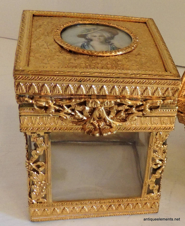 Gilt Elegant Pair of French Bronze Crystal Ormolu Vanity Boxes, Minature Portraits For Sale