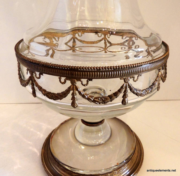 Very Fine Ormolu Doré Bronze-Mounted and Crystal over Sized Pedestal Vase In Good Condition For Sale In Roslyn, NY