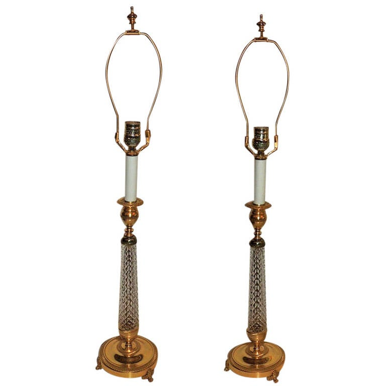 Elegant Pair of French Cut Crystal and Ormolu-Mounted Bronze Canndlestick Lamps