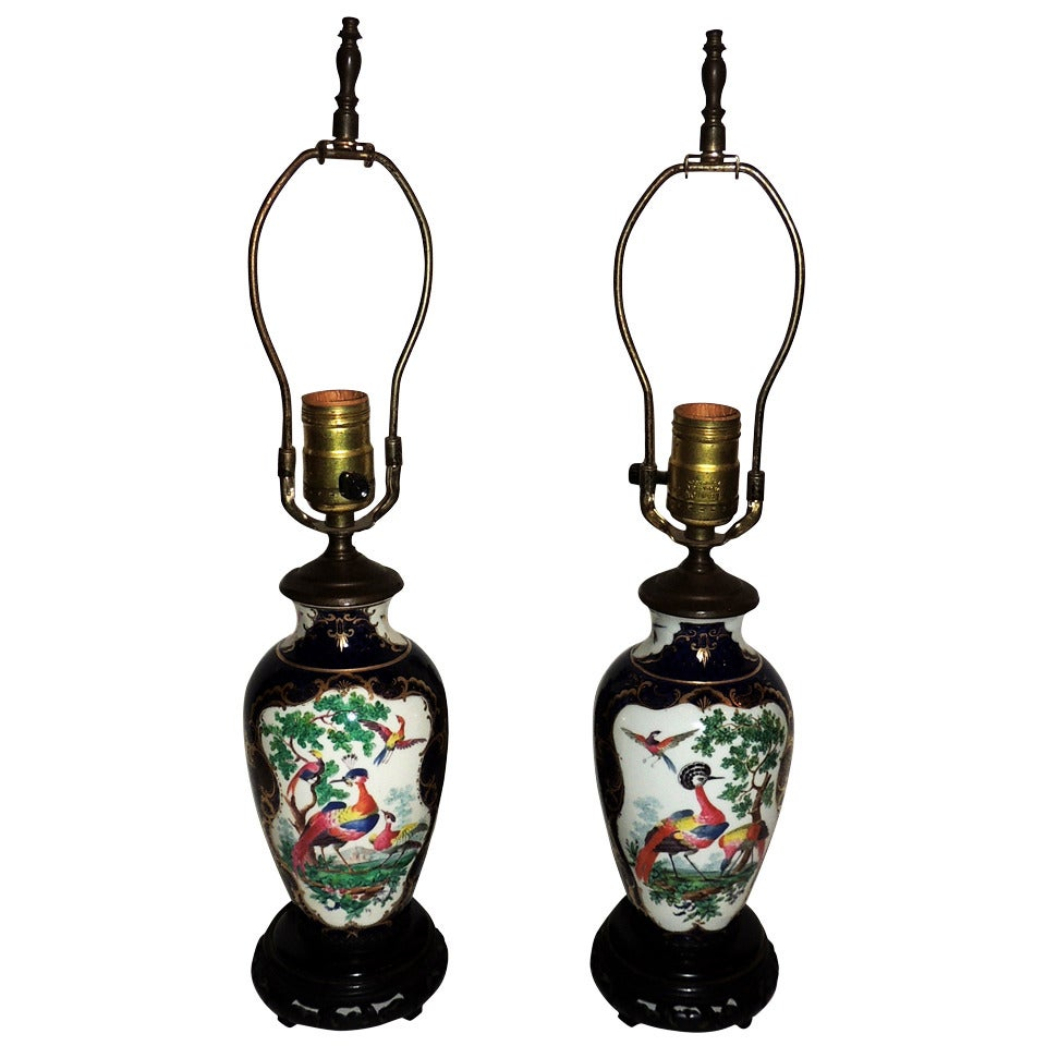 Wonderful Pair of Chinoiserie Blue, Hand-Painted Lamps Depicting Birds