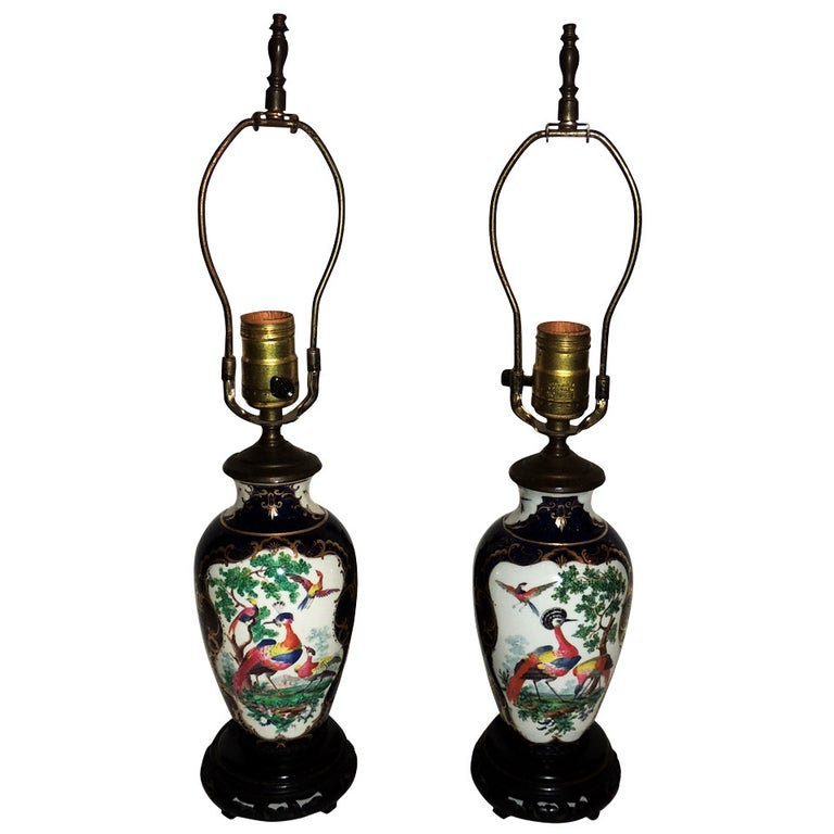 Wonderful Pair of Chinoiserie Blue, Hand-Painted Lamps Depicting Birds For Sale