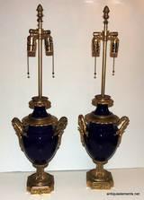 Fine Pair 19th C Sevres Cobalt Blue Porcelain Amp Ormolu Dore