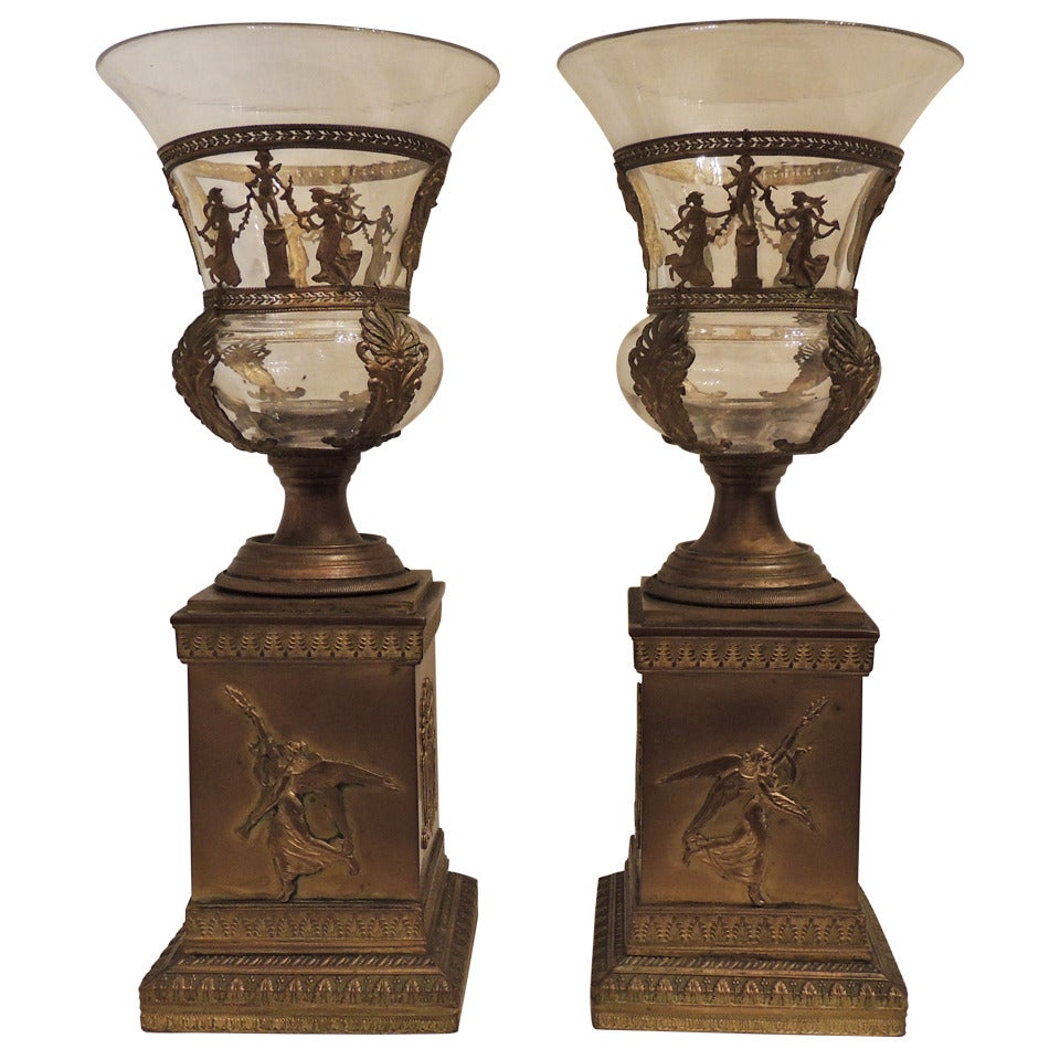 Fine Pair of French Gilt Bronze and Glass Ormolu-Mounted Neoclassical Urns