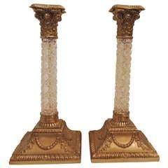 Very Fine Pair of Ormolu Doré Bronze and Cut Crystal Ormolu-Mounted Candlesticks