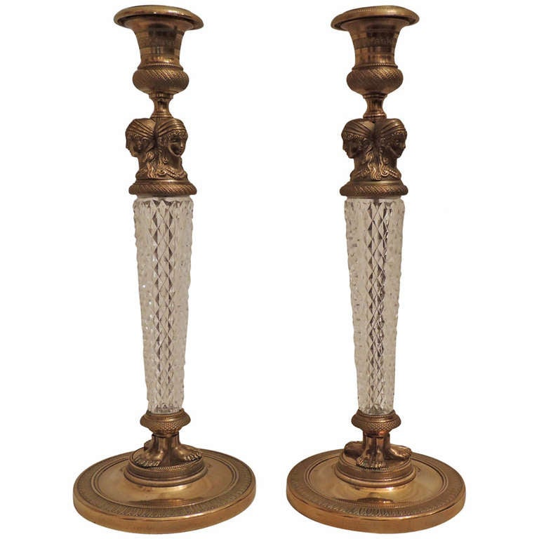 Fine Pair of French Empire Dore Bronze & Cut Crystal Ormolu-Mounted Candlesticks