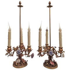 Wonderful Pair of French Doré Bronze Candelabra Lamps with Porcelain Flowers