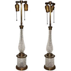 Wonderful Pair of French Ormolu Cut Crystal and Bronze-Mounted Two-Light Lamps