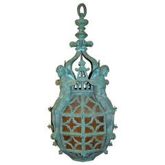 Wonderful Gothic Bronze Figural Lantern with Amber Glass Attributed Caldwell