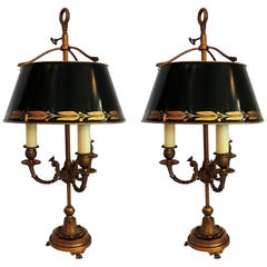 Wonderful Pair of Vintage French Bronze Green Hand-Painted Bouillotte Tole Lamps