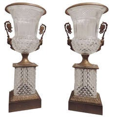 Impressive Pair of French Cut Crystal & Doré Bronze Figural Ormolu-Mounted Urns