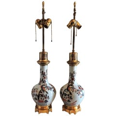 Wonderful Dore Bronze and Hand-Painted Porcelain Chinoiserie Bird Lamps
