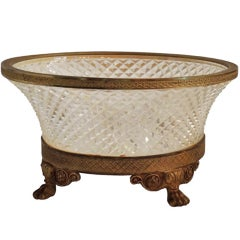 Wonderful Ormolu Cut Crystal and Finely Chased Dore Bronze Centerpiece Bowl