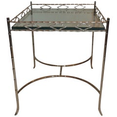 Wonderful Bagues Silvered Bronze Bamboo Gallery Side Table with Glass Top